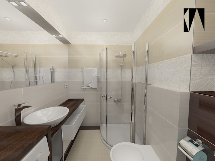 Beżowo-brązowa 2 Nowoczesna łazienka od Katarzyna Wnęk Nowoczesny
