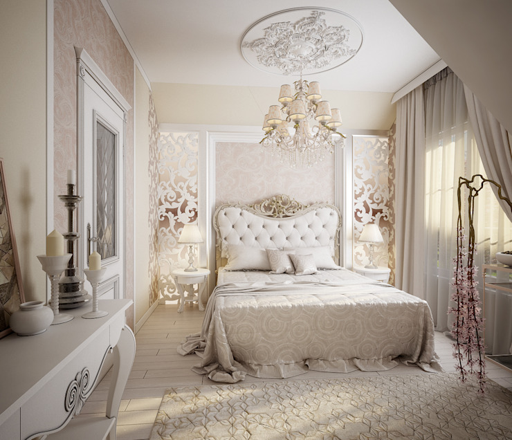 Проект 2х этажного коттеджа в стиле современная классика Спальня в классическом стиле от Инна Михайская Классический