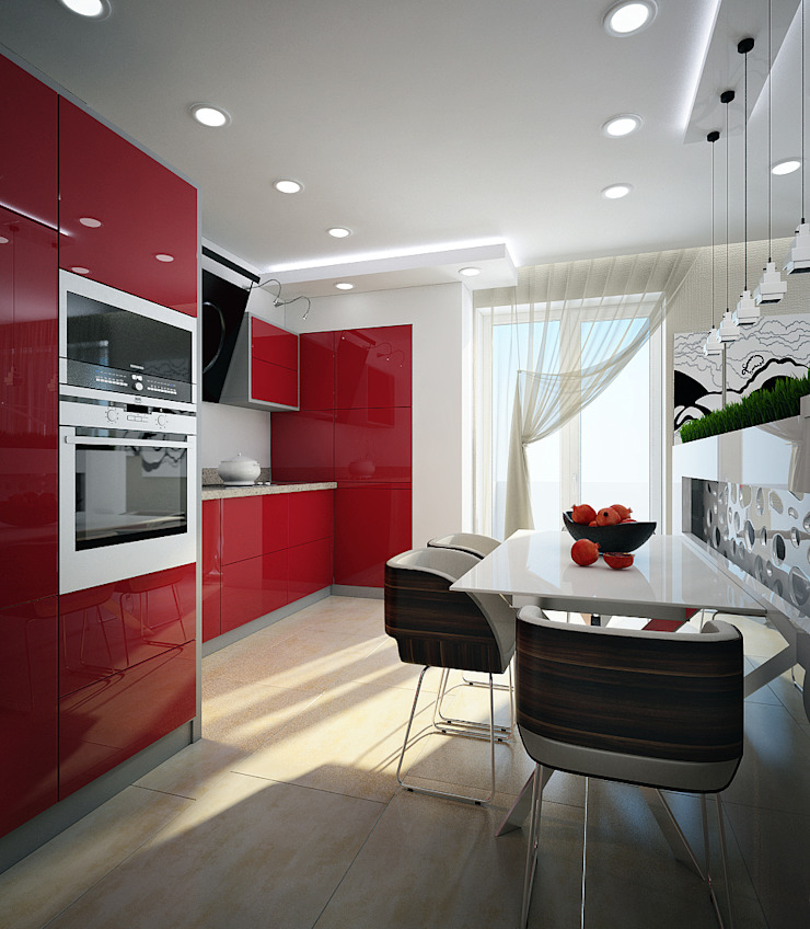 Проект 3х комнатной квартиры в Харькове Кухня в стиле модерн от Инна Михайская Модерн