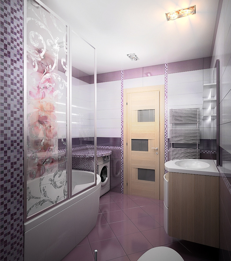 Проект 3х комнатной квартиры в Харькове Ванная комната в стиле модерн от Инна Михайская Модерн