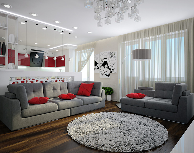 Проект 3х комнатной квартиры в Харькове Гостиная в стиле модерн от Инна Михайская Модерн