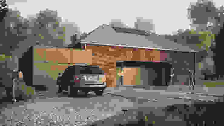 Optymalny plus premium #4: styl , w kategorii Domy zaprojektowany przez INDEA,Minimalistyczny