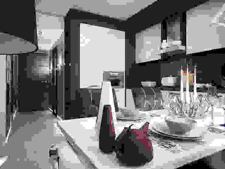 Проект квартиры-студии в Москве Кухня в стиле модерн от Инна Михайская Модерн