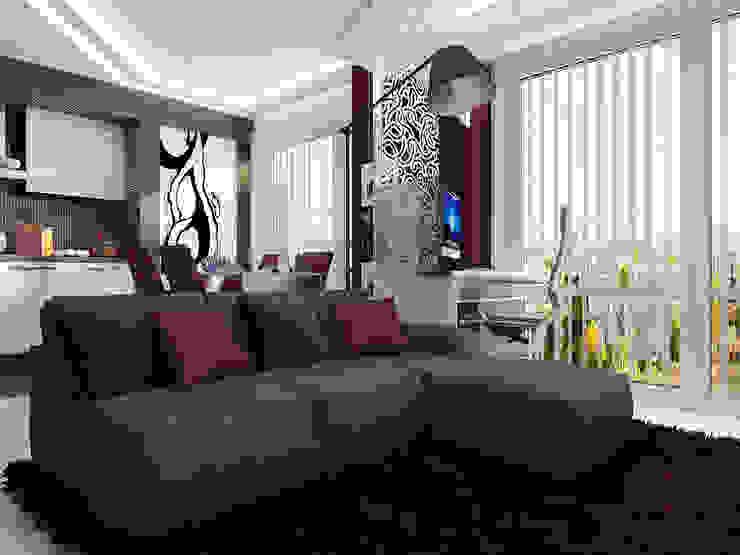 Проект квартиры-студии в Москве Гостиная в стиле модерн от Инна Михайская Модерн