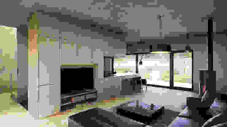 Uniwersalny comfort (aranżacja #2) Minimalistyczny salon od INDEA Minimalistyczny