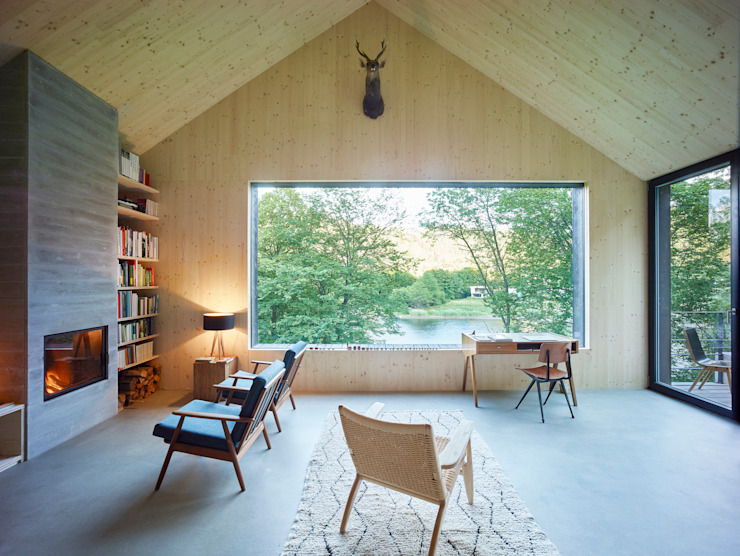 Backraum Architektur Livings modernos: Ideas, imágenes y decoración Madera
