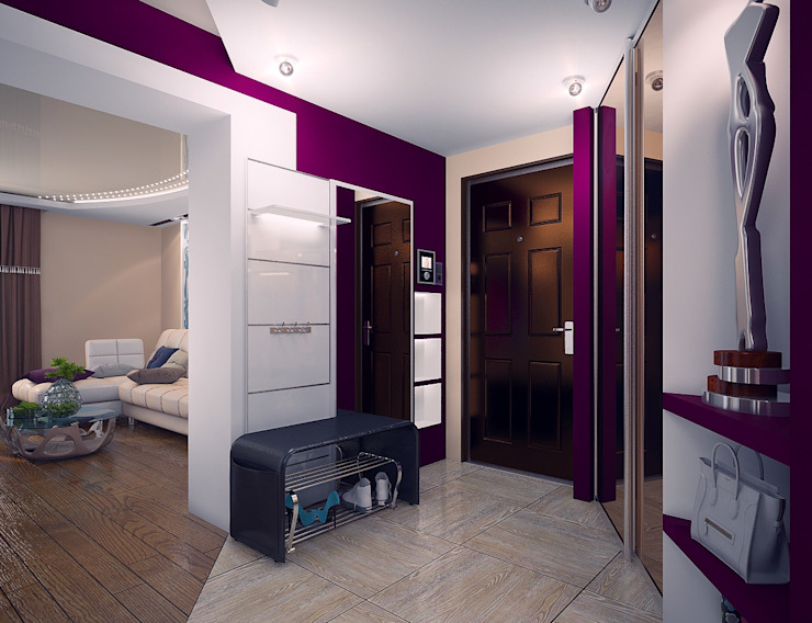 Проект 4х комнатной квартиры Коридор, прихожая и лестница в модерн стиле от Инна Михайская Модерн