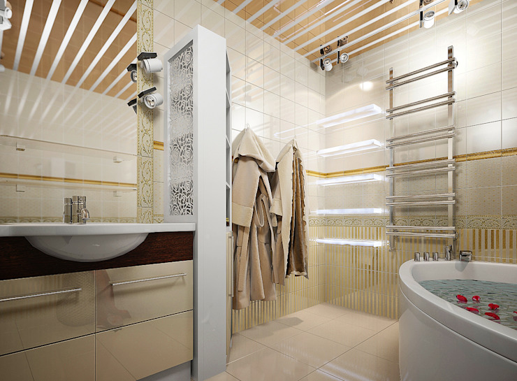 Проект 4х комнатной квартиры Ванная комната в стиле модерн от Инна Михайская Модерн