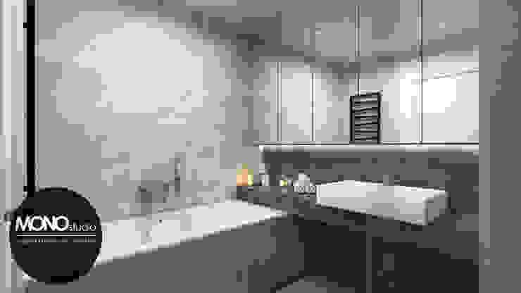 Minimalizm w formie i kolorze Nowoczesna łazienka od MONOstudio Nowoczesny Ceramiczny