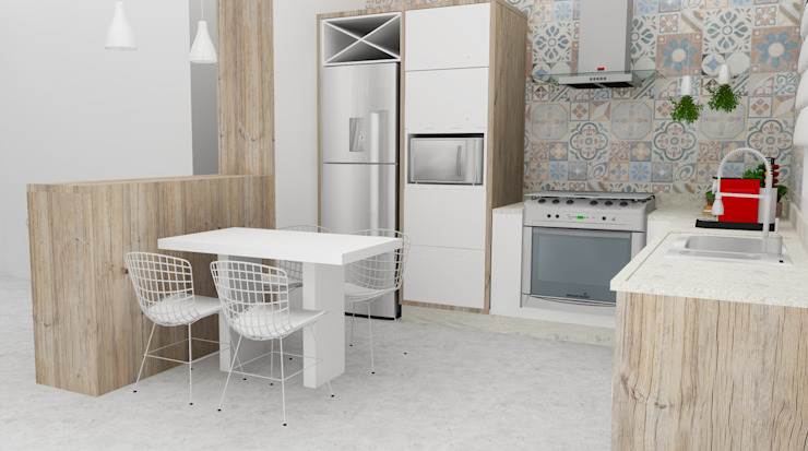 Arquiteto Virtual - Projetos On lIne Eclectic style kitchen MDF White