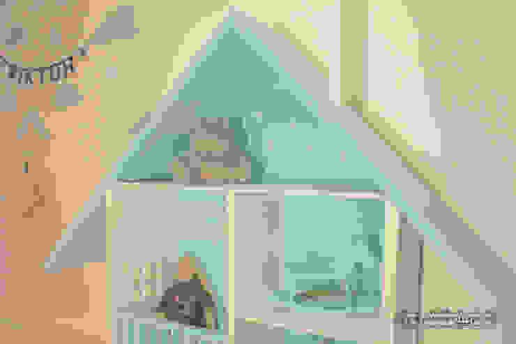 Domek dla lalek - MEGA Miętowy od MyWoodVillage Skandynawski Drewno O efekcie drewna