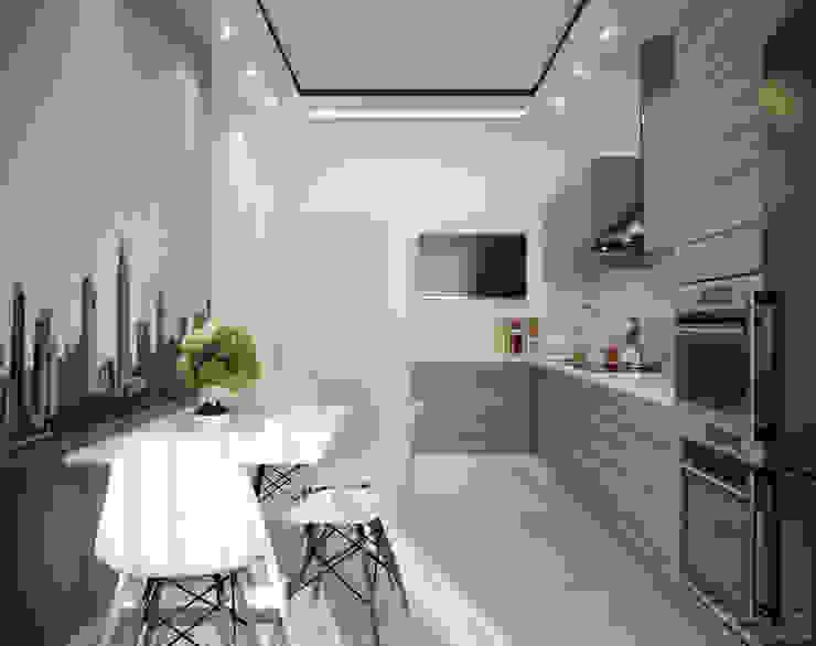 """Дизайн кухни в современном стиле в ЖК """"Воронцовский"""" Кухня в стиле модерн от Студия интерьерного дизайна happy.design Модерн"""