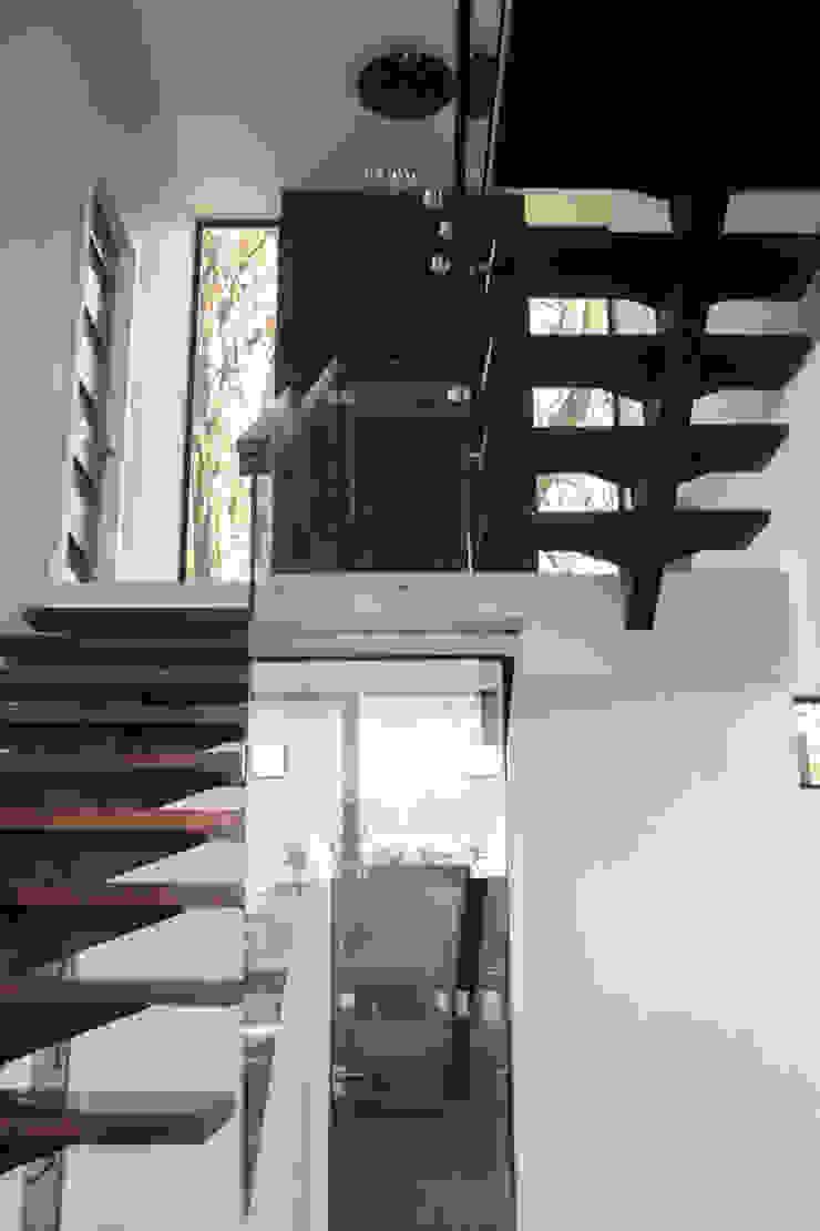aaestudio Minimalistischer Flur, Diele & Treppenhaus Eisen/Stahl Holznachbildung