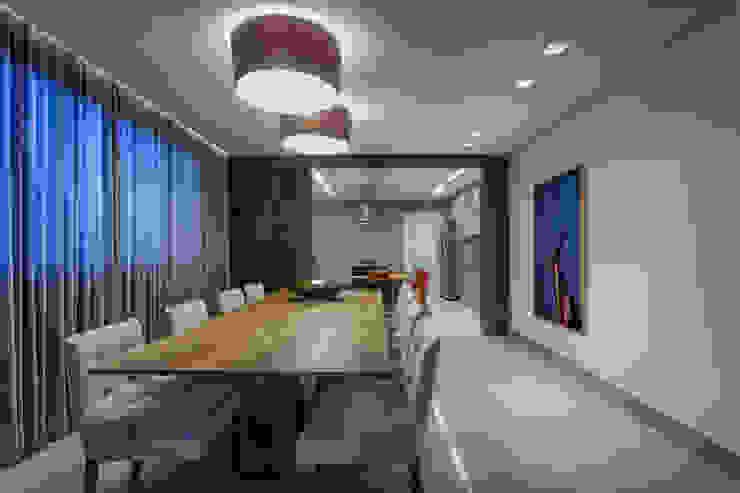 sala de jantar integrada a cozinha Salas de estar modernas por Mariana Borges e Thaysa Godoy Moderno