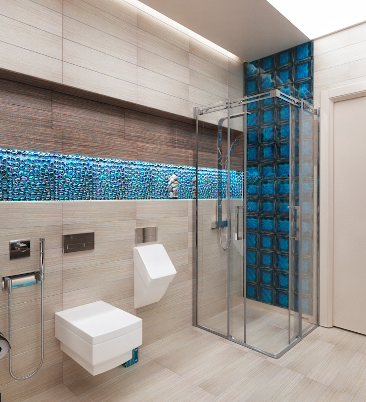 Ванная комната в загородном доме с биокамином Ванная комната в стиле модерн от Настасья Евглевская Модерн Стекло