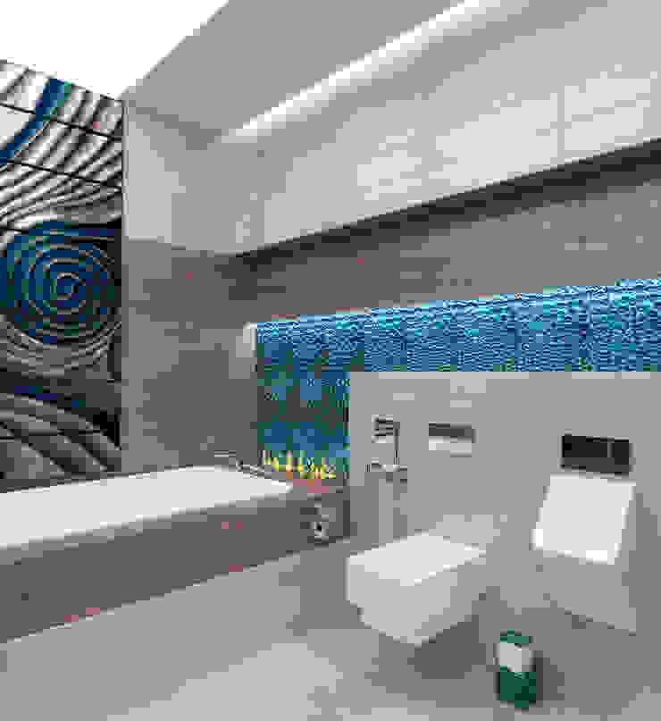 Ванная комната в загородном доме с биокамином Ванная комната в стиле модерн от Настасья Евглевская Модерн Плитка