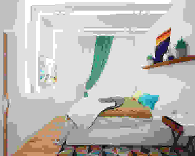Спальня в квартире-студии для холостяка Спальня в стиле минимализм от Настасья Евглевская Минимализм Дерево Эффект древесины