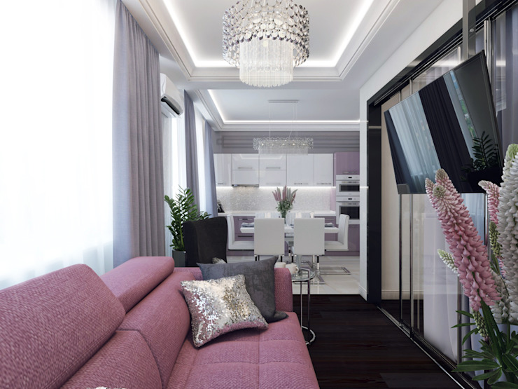 Projekty,  Salon zaprojektowane przez Volkovs studio, Nowoczesny