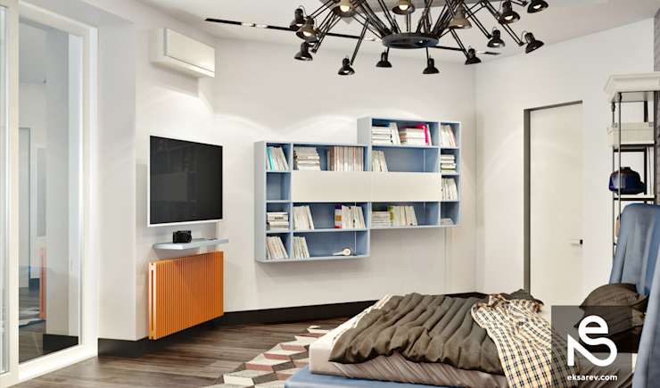 Chambre de style  par Studio Eksarev & Nagornaya, Éclectique