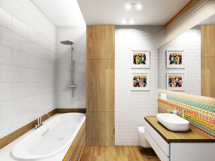 Tropical style bathrooms by ARCHWOOD, дизайн-бюро Tropical Wood Wood effect