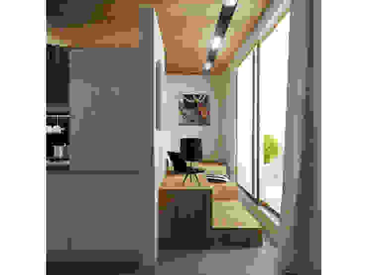 Вид на спальную зону Кухня в скандинавском стиле от ARCHWOOD, дизайн-бюро Скандинавский Дерево Эффект древесины