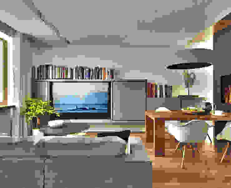 Гостиная Гостиная в скандинавском стиле от ARCHWOOD, дизайн-бюро Скандинавский Дерево Эффект древесины
