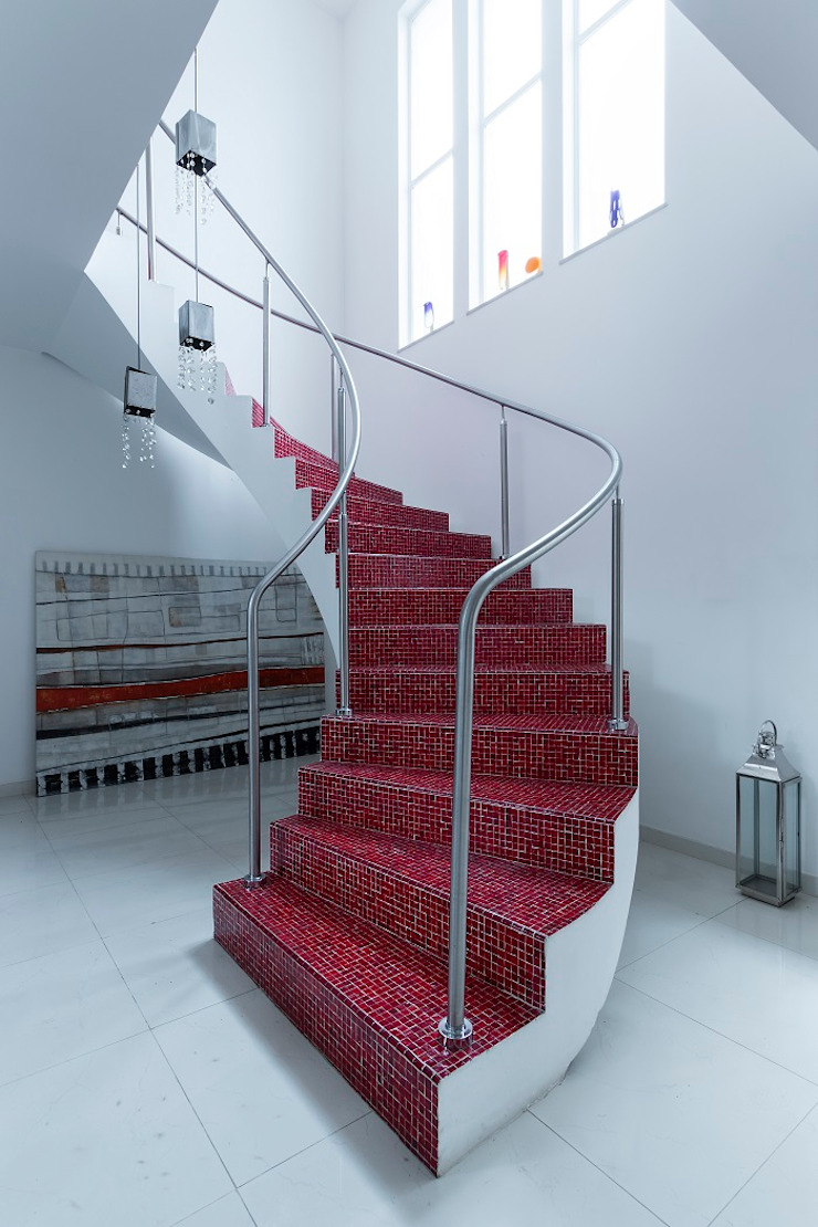 Pasillos, halls y escaleras mediterráneos de Cactus Arquitetura e Urbanismo Mediterráneo
