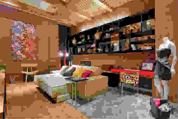 Estúdio Home Office Salas multimídia modernas por Mariana Borges e Thaysa Godoy Moderno