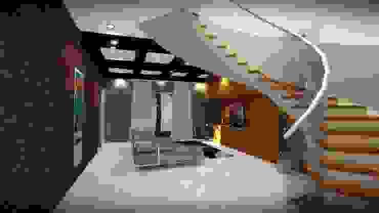 CASA PD – SANTA ISABEL Salas multimedia modernas de Arquitectura . Diseño Moderno Ladrillos