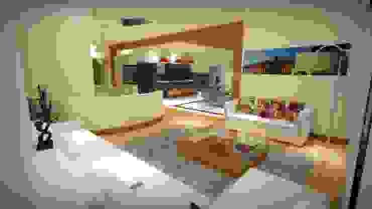 CASA PD – SANTA ISABEL Salones modernos de Arquitectura . Diseño Moderno Madera maciza Multicolor