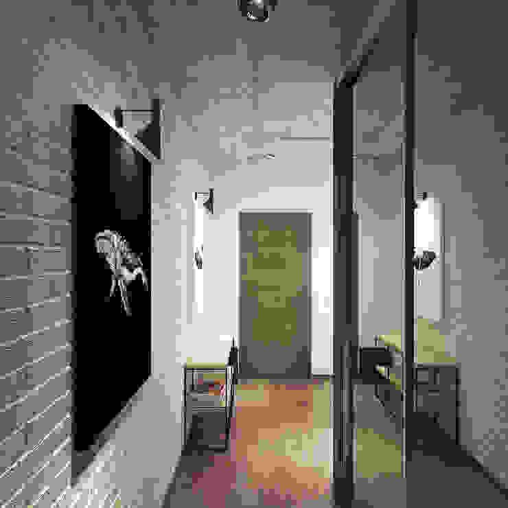 Industrialny korytarz, przedpokój i schody od Студия дизайна Марии Губиной Industrialny