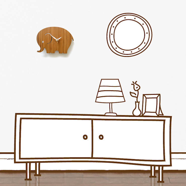 디코이랩 아기코끼리 우드 벽시계(Decoylab Elephant Wall Clock Small): Brillian Co.의 스칸디나비아 사람 ,북유럽