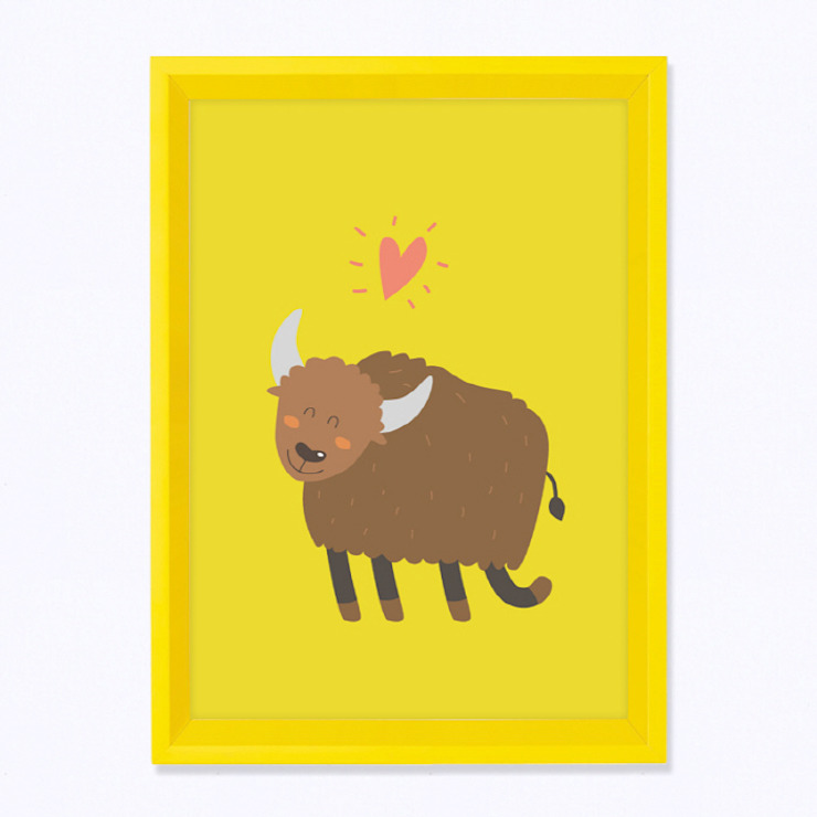 주폴라 옐로우 컬렉션 아이방 북유럽 인테리어 그림 액자(Zoopola yellow Wall deco frame): Brillian Co.의 스칸디나비아 사람 ,북유럽 MDF