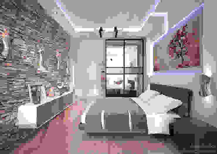 """Дизайн спальни в современном стиле в ЖК """"Новый город"""" Спальня в стиле модерн от Студия интерьерного дизайна happy.design Модерн"""