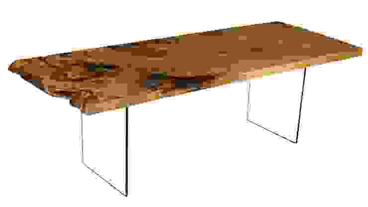 Massivholztisch auf Glasfüßen von Möbelkreationen Beaupoil Ausgefallen