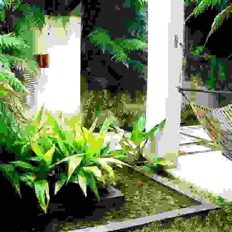 Jardim com espelho dágua Varandas, alpendres e terraços tropicais por Kika Prata Arquitetura e Interiores. Tropical