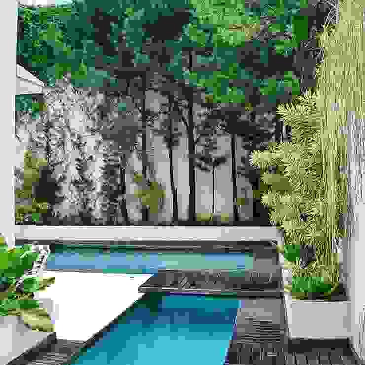Casa minimalista na metrópole Piscinas tropicais por Kika Prata Arquitetura e Interiores. Tropical