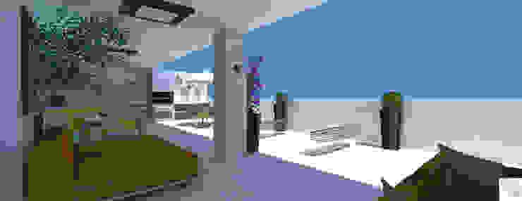 Varanda da cobertura:  tropical por Rangel & Bonicelli Design de Interiores Bioenergético,Tropical