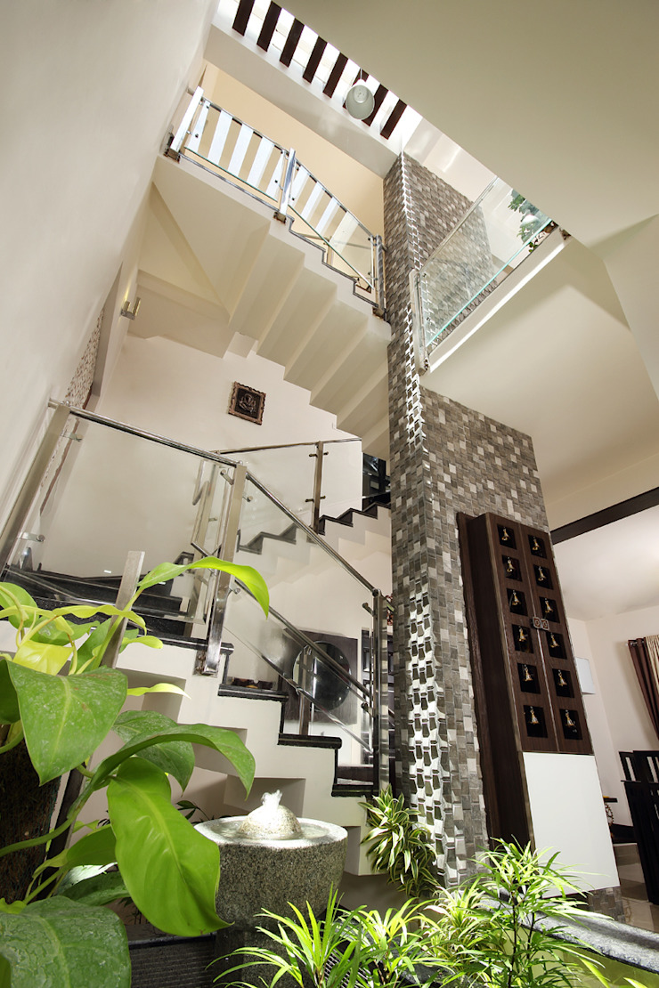 Staircase Sanskriti Architects Eclectic style corridor, hallway & stairs