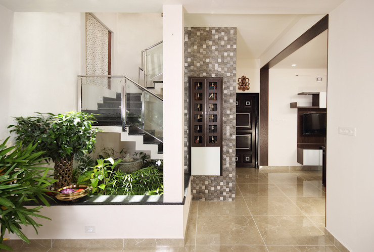 Sanskriti Architects Eclectic style corridor, hallway & stairs