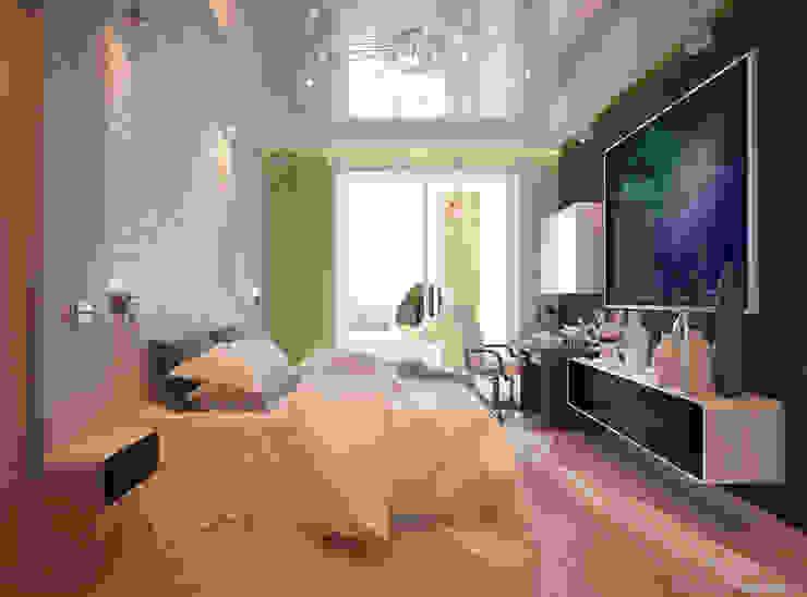 """Дизайн спальни мальчика в современном стиле в ЖК """"Новый город"""" Спальня в стиле модерн от Студия интерьерного дизайна happy.design Модерн"""