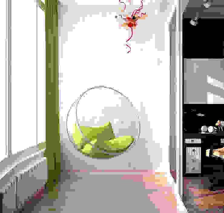 """Дизайн спальни мальчика в современном стиле в ЖК """"Новый город"""" Балкон и терраса в стиле модерн от Студия интерьерного дизайна happy.design Модерн"""