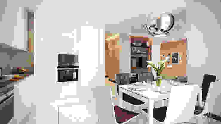 Проект 012: дизайн современной квартиры Кухня в стиле минимализм от студия визуализации и дизайна интерьера '3dm2' Минимализм