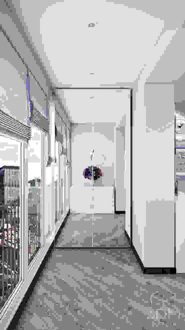 Проект 012: дизайн современной квартиры Балкон и терраса в стиле минимализм от студия визуализации и дизайна интерьера '3dm2' Минимализм