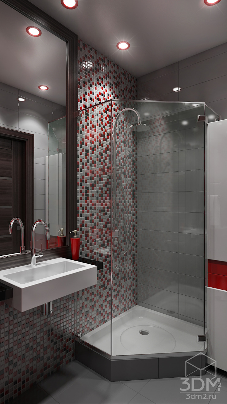 Проект 012: дизайн современной квартиры Ванная комната в стиле минимализм от студия визуализации и дизайна интерьера '3dm2' Минимализм