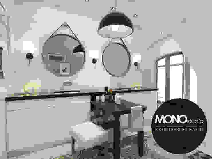 Klasyczna elegancja w stonowanej kolorystyce Nowoczesna łazienka od MONOstudio Nowoczesny Kompozyt drewna i tworzywa sztucznego