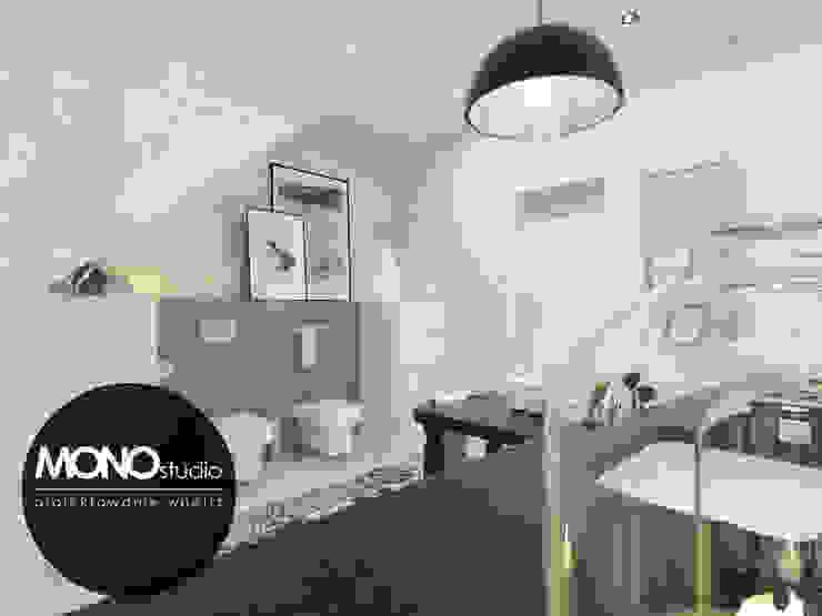 Klasyczna elegancja w stonowanej kolorystyce Skandynawska łazienka od MONOstudio Skandynawski Kompozyt drewna i tworzywa sztucznego