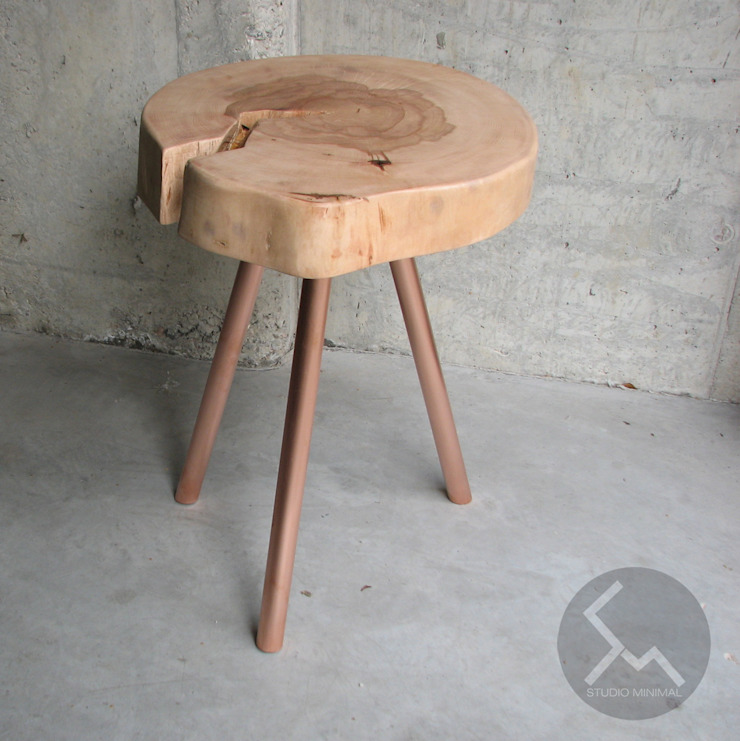STOLIK No.14 Cu od Studio Minimal Meble Skandynawski Drewno O efekcie drewna