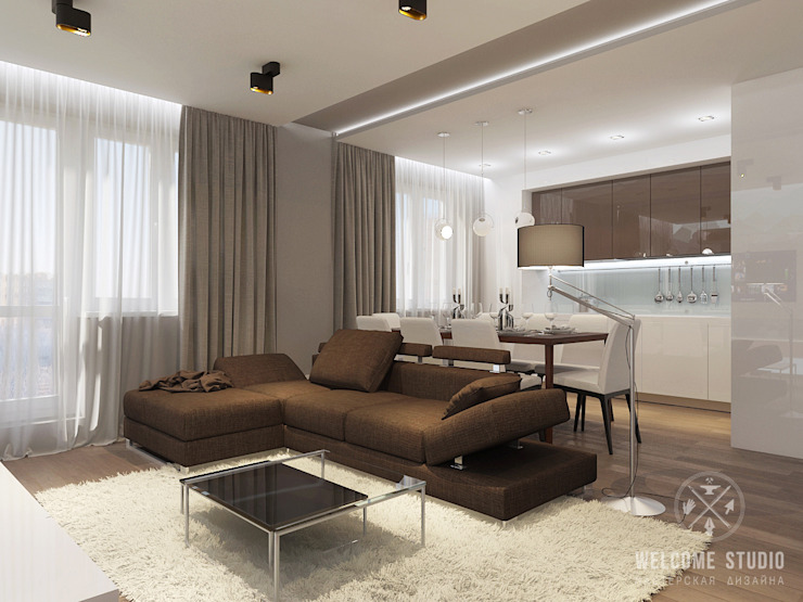 Minimalist living room by Мастерская дизайна Welcome Studio Minimalist
