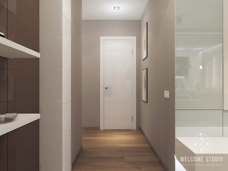 Minimalist corridor, hallway & stairs by Мастерская дизайна Welcome Studio Minimalist